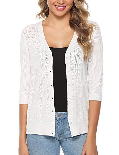 Sykooria Cardigan Langarmshirt Damen Loose Fit Einfarbig Hautfreundlich Outwear Lady-fit Strickjacke Knopf Kurz Weiß