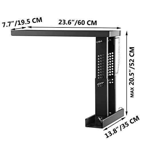 VEVOR 23.4x7.6-Inch Ladder Extender, Extension Ladder 12.25-19.7-Inch Adjustable Height Range, Ladder Leveling Tool, Stair Ladder Extension with Chain Pins in Steel for Stairs, in Black Powder Coated