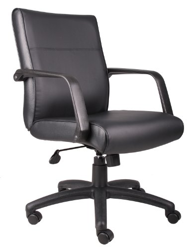 Boss Office Products Mid Back Executive LeatherPlus Chair in Black