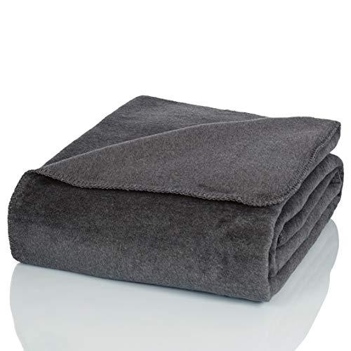Glart Manta, manta suave y cálida de lana, extra mullida, como manta de sofá, manta acogedora para el salón, manta de peluche para el sofá, color Gris, 150 x 200 cm