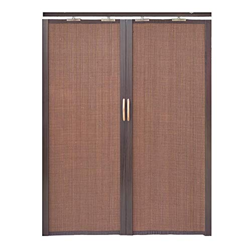 Jcnfa-Roller Shades Bamboo Curtain Folding Sliding Door Double Left and Right Partition Curtain Kitchen Bedroom Balcony Sunshade High Shading Rate (Color : Dark Brown, Size : W45cm XH100cm)
