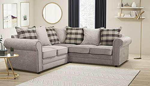 Modern Chenille Fabric Light Grey 2C2 Corner Sofa-Cheap Sofa- Sale N Corner Sofa-5 Seater Sofa-002