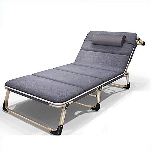 Suge Las sillas reclinables patio plegable cuna cama con cojines Ampliado sofá Sofá Silla Sillón de oficina siesta cama de camping al aire libre Cama portable adjuntos, 150 Kg de carga silla balancín