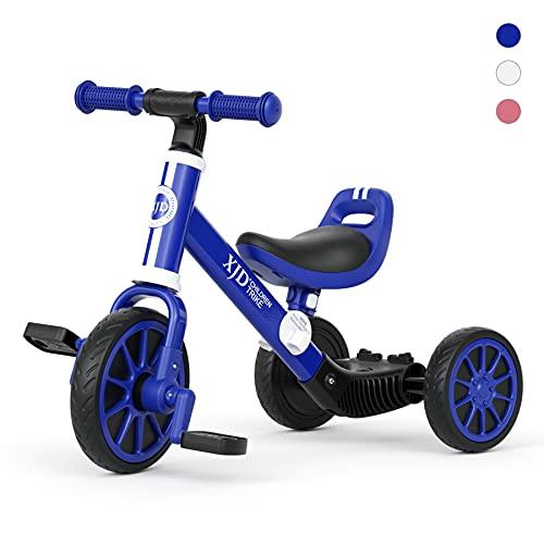 XJD 3 EN 1 Triciclo para Niños Bicicleta para bebé 1-3 años con Pedales Desmontables Asiento Elevador para Ajustar Alturas Regalo de cumpleaños Clásico 1.0 (Azul)