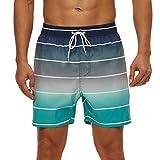 SILKWORLD Men's Printed Swim Trunks with Mesh Lining Quick Dry SwimsuitSwimmingShorts, Gradient Stripe, Large