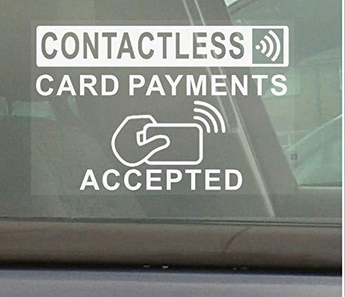 1x Kontaktlose, Karte Zahlungen accepted-130mm weiß auf transparent interne Fenster Taxi, Mini, CAB, Cash, Maschine, Point, Bank, Shop, Geschäften, Aufkleber, Pinnwand, Zeichen, Kenntnis, werden