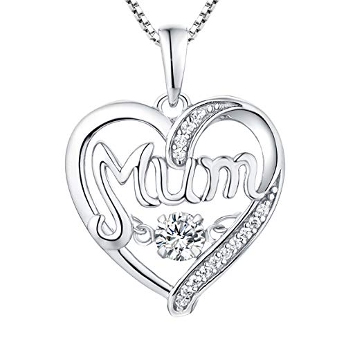 YL Collar de mamá Plata de ley 925 Collar con colgante de corazón de circonita cúbica para mujeres madre, 45-48 cm