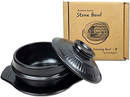Amazing Bowl - Korea Premium Stone Bowl for Cooking with Lid and Trivet, Dolsot, Earthenware, Stone Pot Hot Pot Bibimbap Jjiage Korean Food (Large (6.3'))