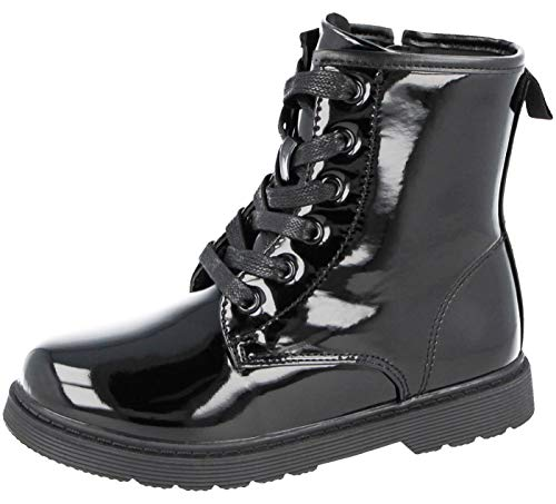 Ladies Girls Kids Faux Leather PU Patent Croc Lace Up Chunky Sole Retro Combat Military Biker Ankle Boots (Black Patent Kids, 3)