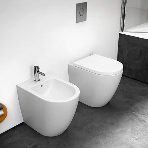 GT-LUX VASO WC SANITARI BAGNO IN CERAMICA FILO MURO SOSPESO   PAVIMENTO TERRA DESIGN CERAMICA TOILETTE GABINETTO (WC a pavimento MH8831B)