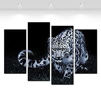 4ピース現代壁アートキャンバスプリント黒と白ヒョウ絵画ライオン動物の絵画/ 30x60x2 30x80cmx2-フレームなし