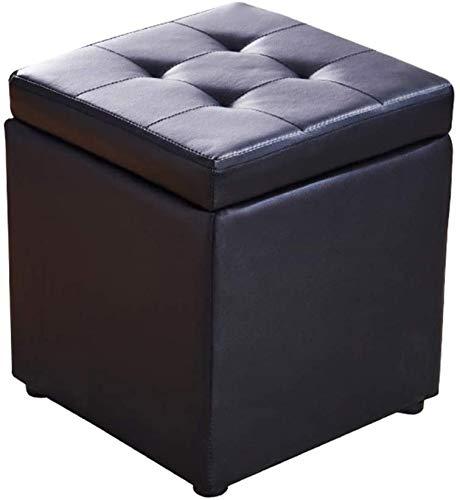 ZCM Taburete para Pies Cube Imitación Cuero Otomano Almacenamiento Puf Asiento De Banco, Caja De Juguetes con Bisagra Caja Organizadora Superior Puf Cofre(Color:Negro,Size:30x30x35cm(12x12x14inch))