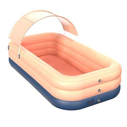 ZYZQ Inflable PoolSummer Agua De La Piscina para Adultos con Parasol, Rápido Configuración Inalámbrica Inflable Gran Piscina Cubierta para El Patio Trasero Exterior,2.6m