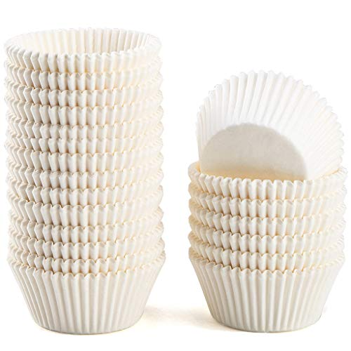 Caperci Standard White Cupcake Liners 500 Count, No Smell, Food Grade & Grease-Proof Baking Cups Paper