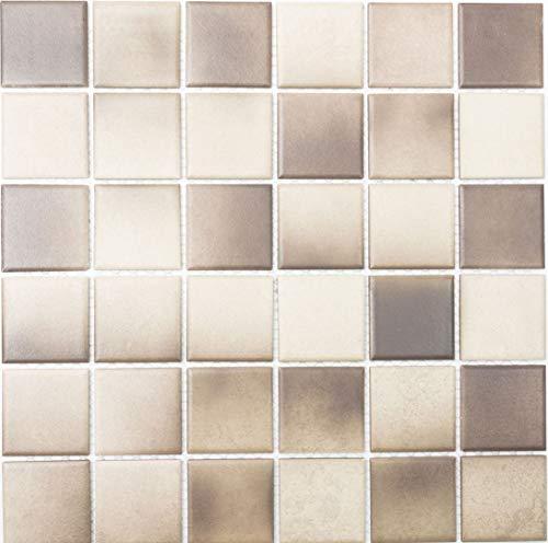 Mosaik Quadrat mix beige/braun rutschhemmend R10C Keramik rutschsicher trittsicher anti slip rutschfest Duschtasse Boden Küche Bad WC, Mosaikstein Format: 48x48x6 mm, Bogengröße: 306x306 mm, 1 Bogen / Matte