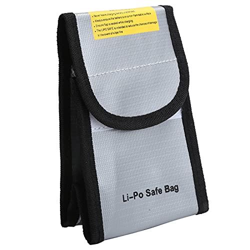 SALUTUY Bolsa Segura para baterías, Bolsa para Archivos de Documentos, Retardante de Llama, Gris Plateado, portátil para baterías para Bolsa de Almacenamiento de Objetos de Valor