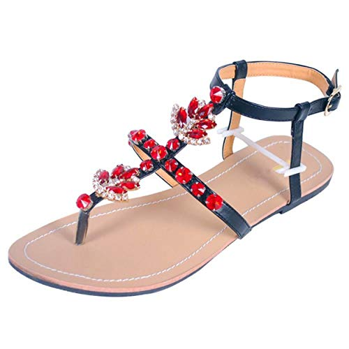 Mujeres T Correa Poste Thongs Verano Bohemia Diamante Sandalias Rhinass Zapatos de Playa Clip Toe Flats Tira del Tobillo Flip Flops