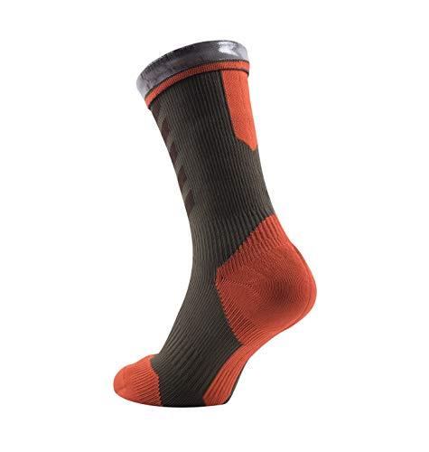 SealSkinz Herren MTB Mid with Hydrostop Socken, Mehrfarbig (Dark Olive/Mud/Orange), 36-38 EU (Small) - 3