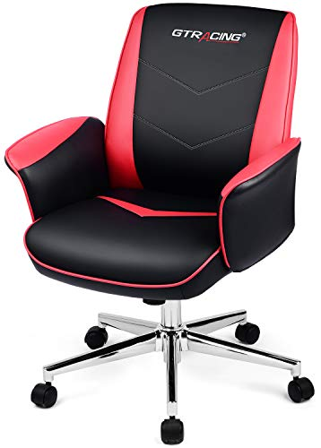 GTRACING Gaming Chair Office Computer Chairs Swivel Leather Desk Chair Ergonomic Padded Back and Seat Height Adjustment Rocking Mid Back PC Chair (Red) chair gaming red