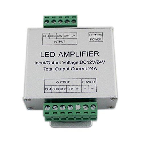 JOYLIT 4 Channels RGBW Amplifier 24A Data Signal Repeater Aluminum Shell For RGBWW LED Lights Strip 12V 24V