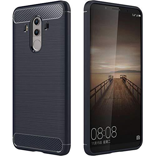 ebestStar - Cover Compatibile con Huawei Mate 10 PRO 2017 Custodia Protezione Silicone Gel TPU Design Fibra di Carbonio Anti Scivolo, Blu Scuro [Apparecchio: 154.2 x 74.5 x 7.9mm, 6.0'']