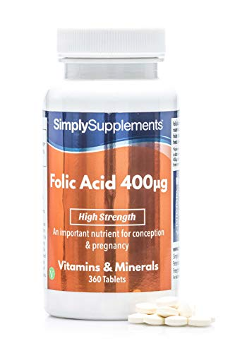 Ácido Fólico (Vitamina B9) 400mcg - ¡Bote para 1 año! - Apto para veganos - 360 Comprimidos - SimplySupplements