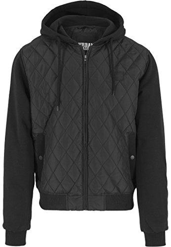 Urban Classics Herren Sweatjacke mit Kapuze Hooded Diamond Quilt Jacket, Streetwear Steppjacke für Männer, blk/blk, Größe M