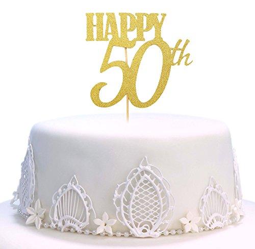 Geburtstagskuchenaufsatz, Kuchen-Topper, handgefertigt, mit Aufschrift: Happy Birthday 50