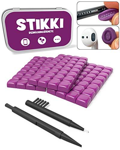 STIKKI® Reinigungsknete für Handy, Smartphone, Kopfhörer UVM. – Professionelles Reinigungsset inkl. Multifunktionsbürsten