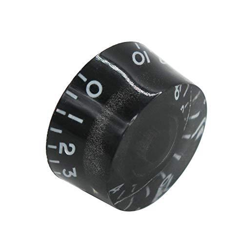 Mxuteuk 4pcs Negro con palabra blanca Guitarra Eléctrica Bajo Top Sombrero Perillas Velocidad Volumen Tono AMP Efecto Pedal Control Perillas KNOB-S3