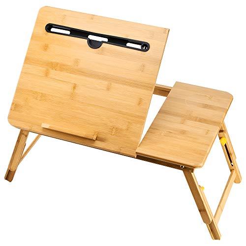折りたたみデスク ノート パソコンデスク ベッドテーブル 凹溝付き 竹製 ローテーブル 多機能 トレーテーブル キャンプ ピクニック角度&高さ調節可能55cm*34cm…