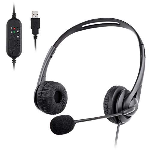 Muljexno Cuffie con Microfono per PC, USB Auricolare con Antirumore per PC Computer Laptop Cuffiette On Ear per Call Center Skype Chat Conference Call Videoconferenza Ufficio Antirumore