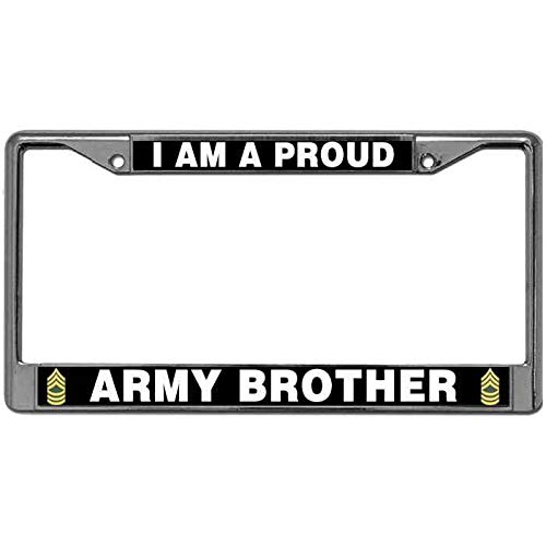 Kingchoo License Plate Aluminum Frame with Standard Mounting Holes Love US Army Quotes Premium Anodized Aluminum License Plate Frame Tag I Am A Proud Army Brother Automotive License Plate Frame