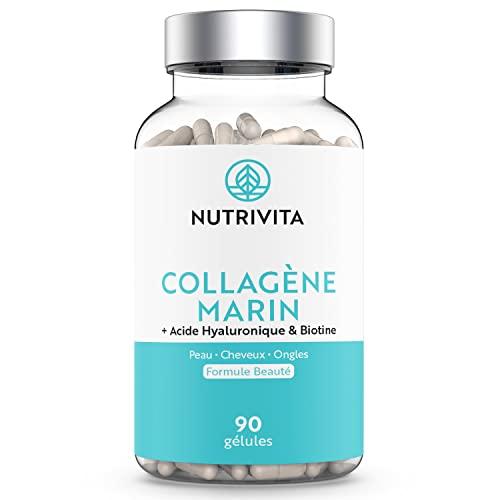 Collagène Marin 1000 mg & Acide Hyaluronique | Haute Teneur & Assimilation Élevée | Avec Vitamine C + Zinc + Biotine | Beauté de la Peau, des Cheveux et des Ongles | 90 gélules végétales | Nutrivita