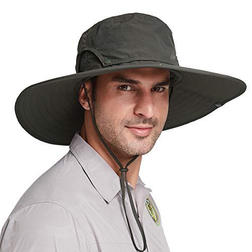 Gisdanchz Cappello da Sole Safari Uomo,Cappello Trekking Tesa Larga Estivo Traspirante Cappello Sole Anti UV Caccia Pesca Canottaggio Cappello Pescatore Impermeabile Uomo Cappello Cowboy,Verde Oliva