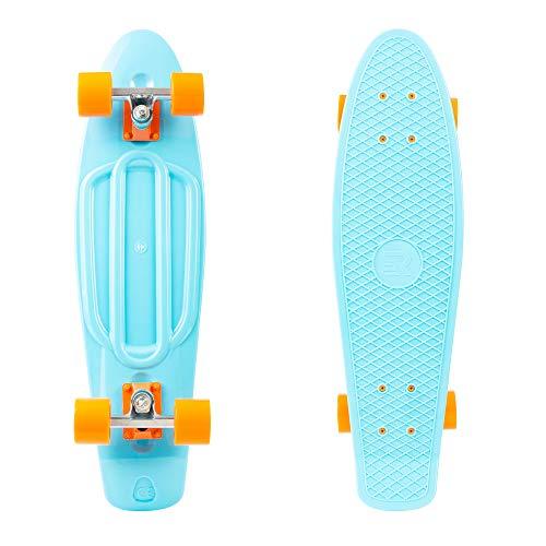 Retrospec 3343 Quip Skateboard 27' Classic Retro Plastic Cruiser Complete Skateboard with ABEC 7 Bearings and PU Wheels, Sky Blue & Orange