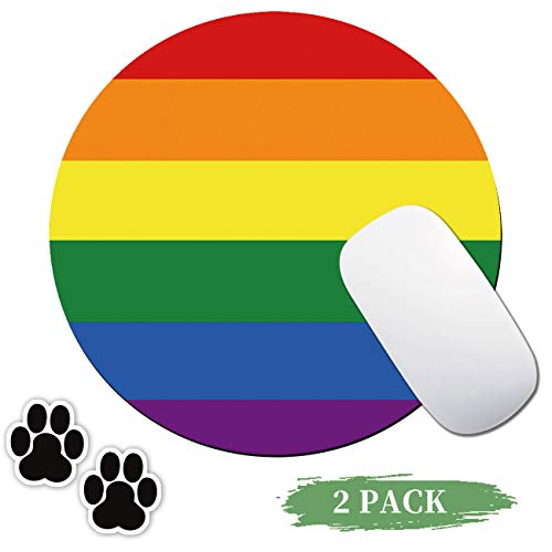 Round Mouse Pad Rainbow Gaming Mousepad Non-Slip Rubber Base Design Mouse Pads for Computers and Laptop,with Cute Dog paw Computer Stickers