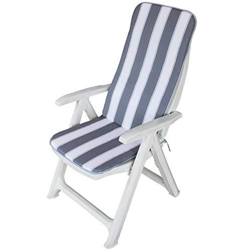 Maratex - Cojín para silla de jardín – Muy suave – 45 x 120 – Mod. Relax rayas gris