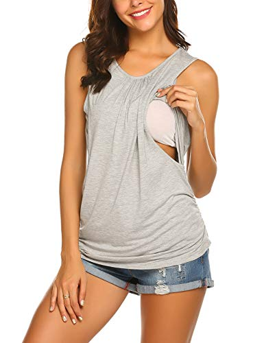Ekouaer 2 Layers Maternity Nursing Comfy Tank Tops Sleeveless Breastfeeding Clothes Grey M