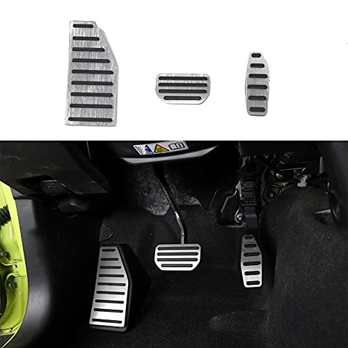 Fscar Silver Left Foot Rest Pedal And Accelerator Brake Pedal Cover Trim Foot Pedal Pads Decoration Car Interior Accessories 1Set For Jimny 2010-2021(AT) -  21-415-HT-01867