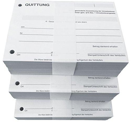 3x Block Quittung - Quittungsblock für Kleinunternehmer (§19) - 2 x 50 Blatt DIN A6 - gelocht - SD -durchschreibend (22427)