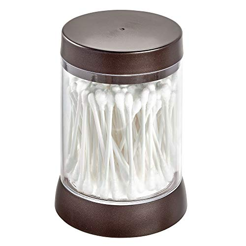 Price comparison product image iDesign Haley Jar,  Plastic Cosmetic Organiser with Lid,  Makeup Brush Canister for Bathroom and Bedroom,  Clear / Bronze,  One Size