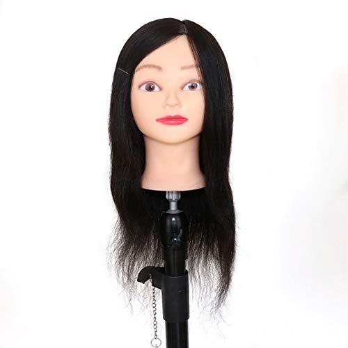 Professionnel véritable cheveux 22 pouces coiffure formation tête mannequin tête coiffeur mannequin tête avec support de serrage,Black,16inches