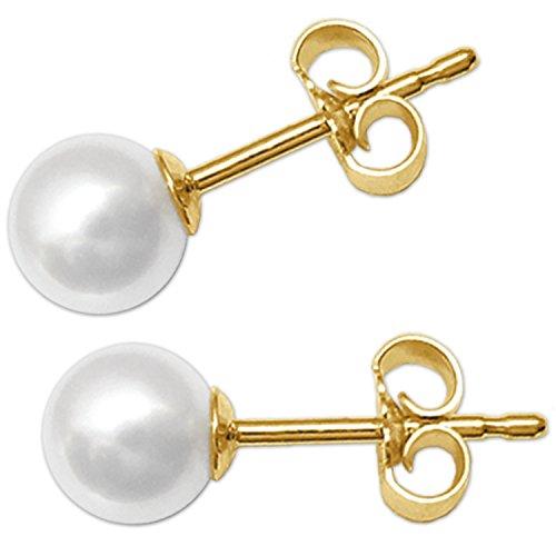 CLEVER SCHMUCK Goldene Perlenohrstecker weiß Ø 5 mm glänzend 333 GOLD 8 KARAT im Etui sand