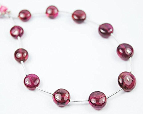 8 inch Strand of Natural Pink Tourmaline Coin Shape Smooth Cut 11mm Beads for DIY Jewelry Making.