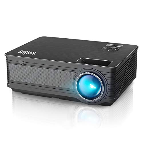 "Projector, WiMiUS P18 Upgrade +20% Lumens LED Movie Projector 1080P Full HD Support 300"" Display Compatible with Amazon Fire TV Stick Laptop iPhone Android Phone Xbox PS4 Via HDMI USB VGA AV Black"