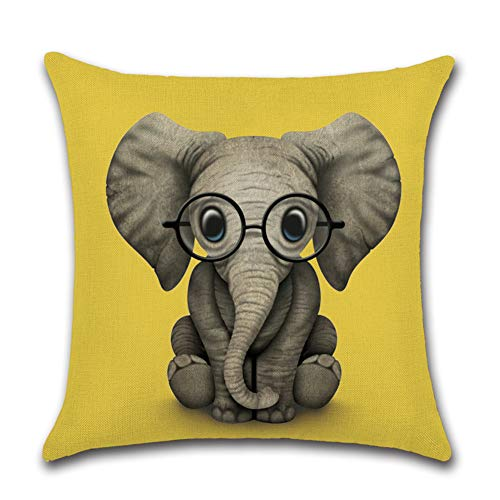Artscope Cushion Cover, Cotton Linen Throw Pillow Cover Decorative Pillowcase with Invisible Zipper for Sofa Car Living Room, 45 x 45 cm (Elephant Yellow)