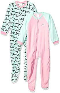 Image of 2 Pack Gerber Pink and Light Green Love Footed Pajamas for Toddler Girls - See More