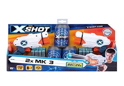 X-Shot ZURU – 36120 Double Combo 2 x MK 3 Blaster mit 16 Darts + 3 Zieldosen