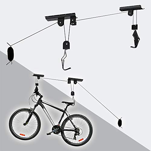 WilTec Support Ascenseur Vélo 20 kg Porte- Bicyclette Rangement Garage Stockage Plafond Élévateur